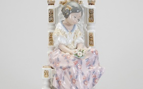 Picture girl, flowers, chair, porcelain