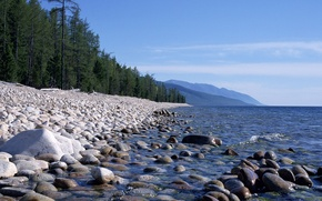 Wallpaper Trees, Stones, Mountains, Water, Forest