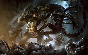 Picture soldiers, aliens, Predator, Alien, art, marines, Alien vs Predator, xenomorph, giger, avp