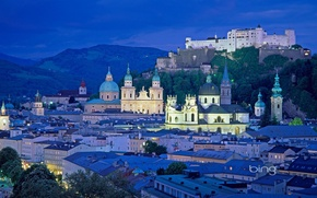 Picture roof, the sky, the city, lights, castle, tower, mountain, home, the evening, Cathedral, architecture, the ...