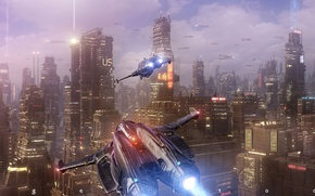 Picture machine, the city, lights, fiction, building, ships, flight, sci-fi, Angel Alonso, Angelitoon, Megacity