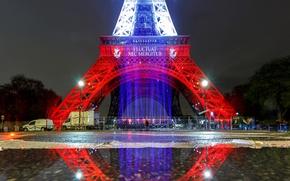 Picture light, lights, reflection, paint, France, Paris, Eiffel tower
