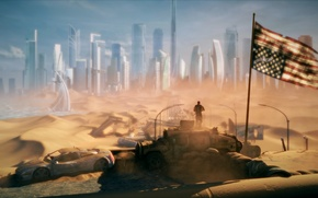 Picture the city, Apocalypse, desert, hammer, flag, America, USA, pustosh, future, Spec Ops: The Line