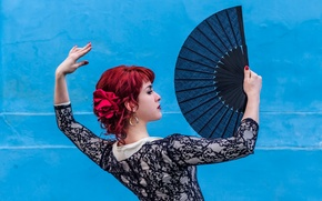 Picture girl, pose, fan