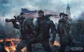 Picture weapons, woman, flag, art, male, ruins, trio, revolution, Homefront: The Revolution