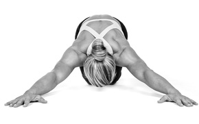 Wallpaper white and black, yoga pose, stretching