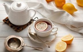 Picture tea, kettle, Cup, dishes, citrus, lemons, strainer