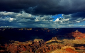 Picture clouds, shadows, Grand Canyon