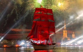 Picture sunset, salute, Saint Petersburg, Scarlet sails, 2015