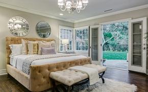 Wallpaper bed, pillow, bedroom