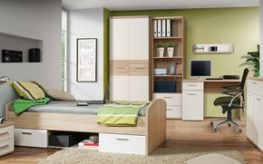 Picture design, style, interior, the room of the student