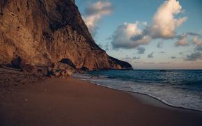 Picture sand, sea, clouds, sunset, stones, rocks, coast, horizon