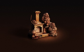 Wallpaper grandma, figurine, oven, grandpa