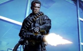 Picture background, fire, toy, robot, machine gun, figurine, Terminator, T-800