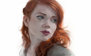 Picture look, redhead, drawn girl