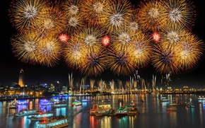 Picture ships, salute, New Year, Taiwan, fireworks, harbour, Taipei