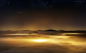 Picture the sky, stars, clouds, surface, planet, comet