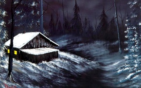 Picture winter, forest, light, snow, landscape, night, house, fire, Windows, hut, picture, painting, Bob Ross, winter …
