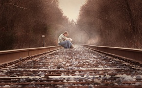 Picture girl, mood, railroad