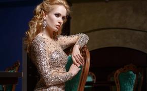 Picture decoration, model, hair, makeup, dress, chair, profile, curls, serigi