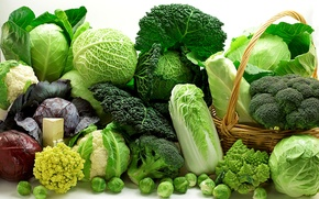 Picture greens, basket, vegetables, different, cabbage, varieties