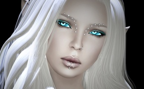 Picture girl, face, elf, piercing, white hair, render