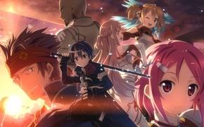 Wallpaper lisbeth, silica, agil, small, yuuki tatsuy, three girls, high resolution, barrette, sword, male, red eyes, ...