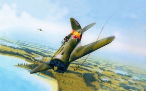 Picture the sky, art, serial, aircraft, it, first, without, OKB, created, -16, Soviet, one, fighter-monoplane, piston, …