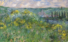 Wallpaper Claude Monet, picture, Landscape near Vétheuil, nature