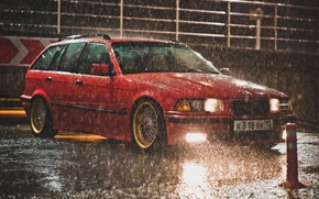 Picture rain, BMW, red, BBS, e36, Touring