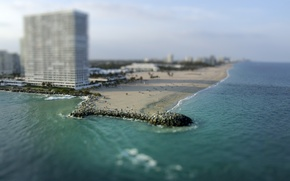 Picture sea, beach, home, Miami, Miami, tilt-shift