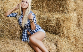 Picture smile, mood, hay, Cowgirl
