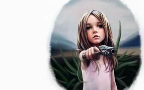 Wallpaper gun, figure, girl