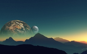 Picture the sky, stars, mountains, planet, satellite, Landsat