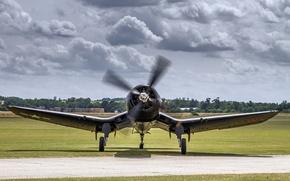 "Wallpaper fighter, the airfield, Corsair, F4U, ""Le Corsaire"""