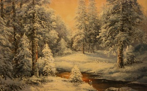 Picture cold, winter, snow, background, Wallpaper, frost, New year, painting, winter forest, Zorin
