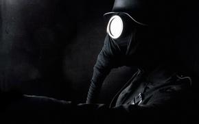 Picture black, Gas mask, black, helmet, trunk