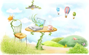Wallpaper butterfly, balloons, table, figure, lamp, chair, mug, laptop, vines