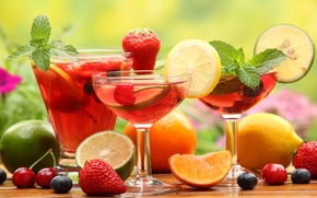 Picture cherry, table, lemon, orange, glasses, strawberry, berry, lime, drink, fruit, olives
