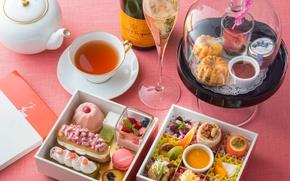 Picture tea, champagne, cakes, tradition, afternoon tea, послеобеденный чай