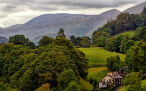 Picture trees, mountains, house, field, England