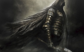 Wallpaper darkness, sword, armor, hood, armor, knight, Namco Bandai Games, Dark Souls 2, From Software, Dark ...