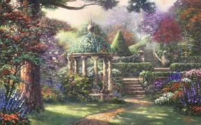 Wallpaper forest, trees, landscape, flowers, painting, Thomas Kinkade, Gazebo of Prayer, gazebo