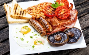 Picture mushrooms, bread, meat, scrambled eggs, tomatoes, bacon, mushrooms, tomatoes, egg, meat, beans, sausage, bacon