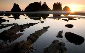 Wallpaper stones, the sun, rocks, Water