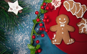 Picture berries, holiday, new year, Christmas, branch, cookies, plate, needles, pine, cakes, decor, chelovechik