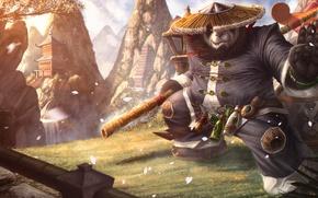 Picture bear, Panda, Warcraft, art, stick, World of Warcraft: Mists of Pandaria