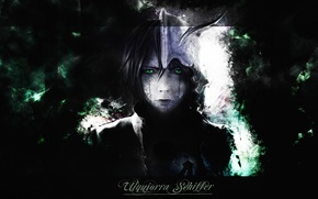 Picture face, mask, Bleach, Bleach, green eyes, empty, sword, Ulquiorra Schiffer, in the dark, by Tite …
