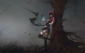 Wallpaper girl, birds, fog, tree, magic, art, hood, crows, dragon age, morrigan, blinck