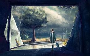 Wallpaper posts, wire, the tunnel, art, trees, rain, foliage, girl